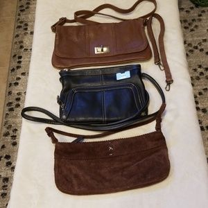 Group of 3 leather and suede handbags